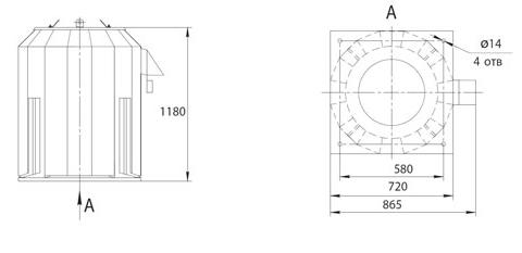 Габаритно-присоединительные размеры ВКРФм ДУ-4,5
