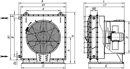 Габаритные размеры агрегатов воздушно-отопительных А02 на базе калориферов типа КСк