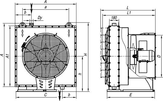 Габаритные размеры агрегатов воздушно-отопительных А02 №3-6,3П на базе воздухонагревателей типа КП