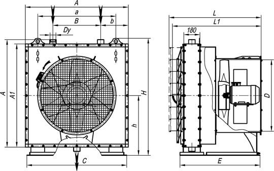 Габаритные размеры агрегатов воздушно-отопительных А02 №10-25 на базе воздухонагревателей типа КП