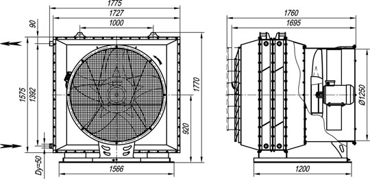 Габаритные размеры агрегата воздушно-отопительного А02-50 на базе двух водяных калориферов КСК3-12-02ХЛЗМ