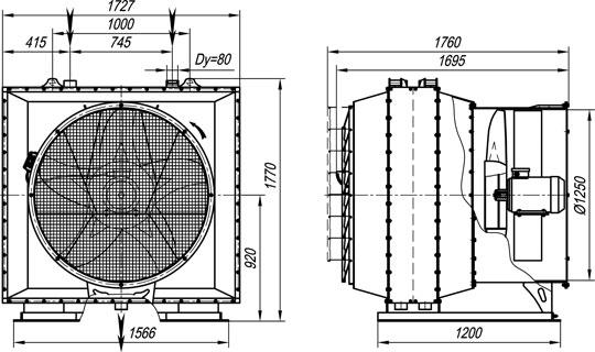 Габаритные размеры агрегата воздушно-отопительного А02-50П на базе двух паровых воздухонагревателей КП3-12-СК01УЗМ (изготавливается по спецзаказу)