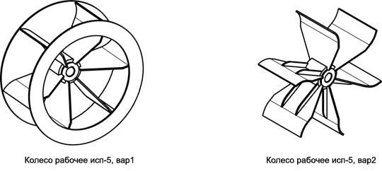 Варианты изготовления рабочих колес вентиляторов ВР 140-40 исп-5 №5; №6,3; №8