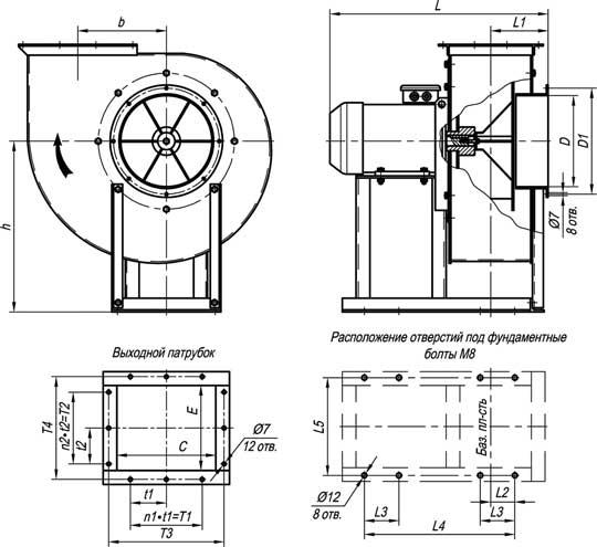 Габаритные и присоединительные размеры вентиляторов ВР 140-40 №2,5; №3,15; №4 исп-1