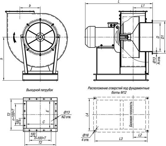 Габаритные и присоединительные размеры вентиляторов ВР 140-40 №5; №6,3; №8 исп-1