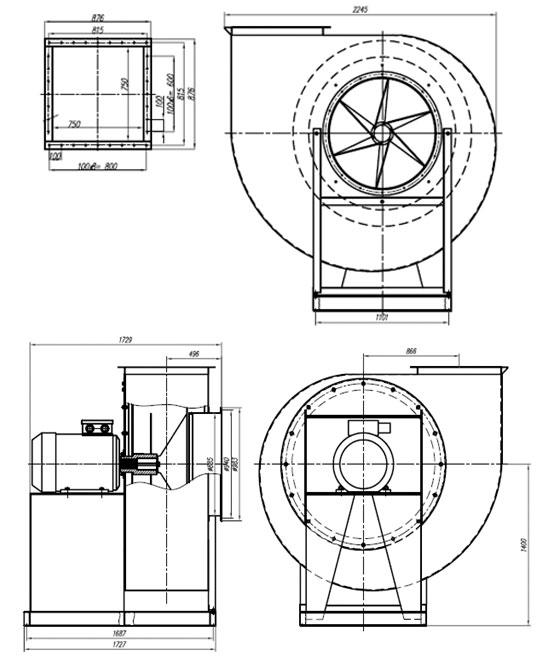Габаритные и присоединительные размеры вентиляторов ВР 140-40 №12 исп-1