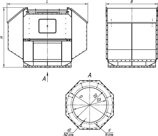 Габаритные и присоединительные размеры ВКРВм №3,15-14