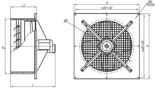 Габаритные размеры вентиляторов ВО №2,5-8 380В