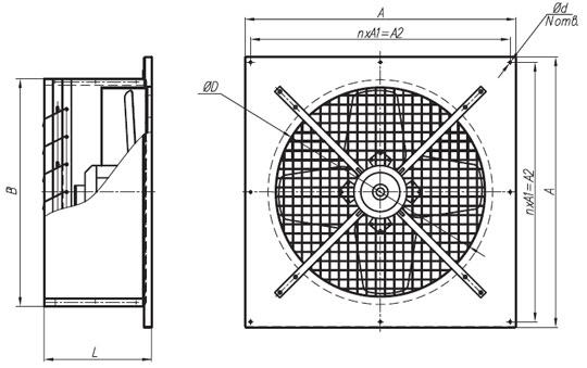 Габаритные размеры вентиляторов ВО №2,5-3,15 220В