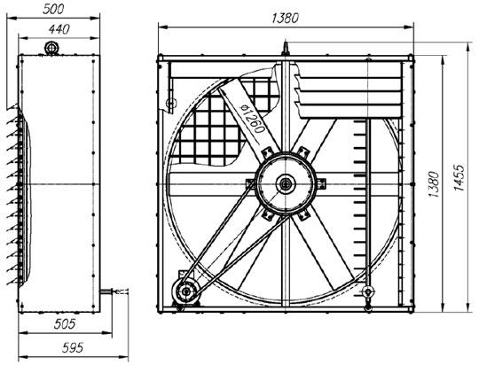 Габаритные и присоединительные размеры вентилятора ВО-12