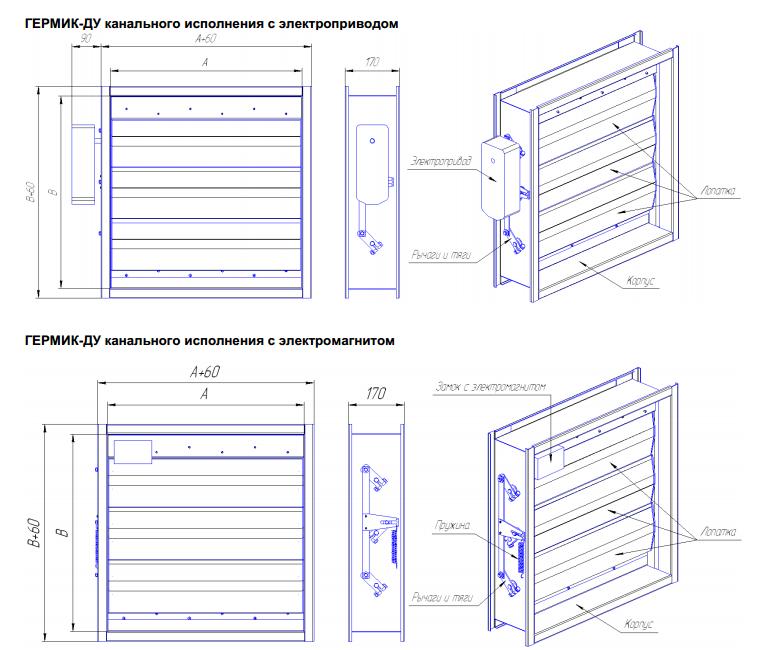 Клапан ГЕРМИК-ДУ габаритные и присоединительные размеры