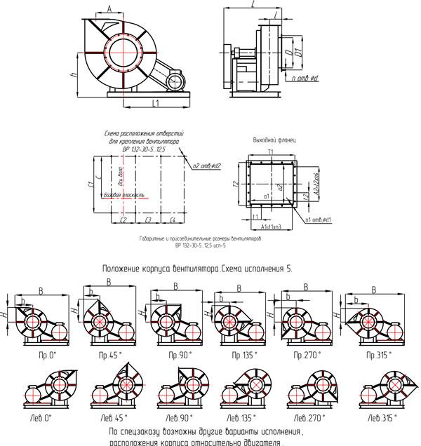 Габаритные и присоединительные размеры вентиляторов ВР 132-30