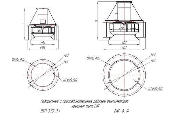 Габаритно-присоединительные размеры ВКР ДУ