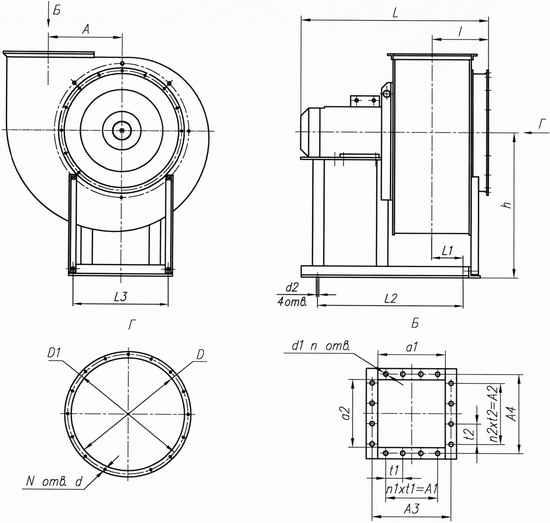 Габаритные размеры вентиляторов ВР 86-77 1-е исполнение