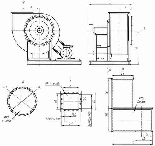 Габаритные размеры вентиляторов ВР 86-77 №10 и №12,5 5-е исполнение